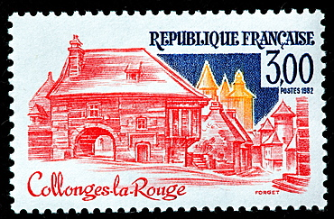 Collonges la Rouge, postage stamp, France, 1982