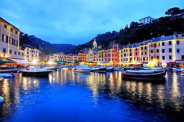 The harbour of Portofino at dusk, Liguria, Italy.