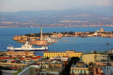Messina Harbour with Calabria in the background, Sicily, Italy.