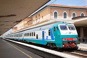 Train Engine in Pisa Railway Station, Italy.