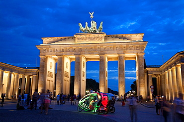 Brandenburger Gate and Pariser Platz Square; Berlin; Germany; Europe Illuminated at Night.