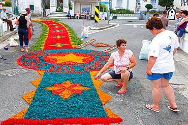 Local residents making flower carpets for the procession of Nossa Senhora da Piedade, in the parish of Ponta Garca. Sao Miguel island, Azores.