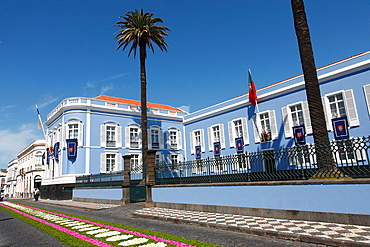 The presidential palace of the Government of the Autonomous Region of the Azores, in Ponta Delgada. Azores islands, Portugal.