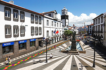 Plaza in the city of Ponta Delgada. Sao Miguel island, Azores islands, Portugal.