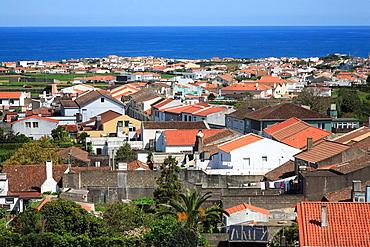 View of the parish of Santa Barbara and the city of Ribeira Grande. Sao Miguel, Azores islands, Portugal.