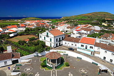 The parish of Ribeirinha, as seen from the top of the church tower. Sao Miguel island, Azores, Portugal.