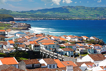 North coast of Sao Miguel island and part of the city of Ribeira Grande, Azores, Portugal.