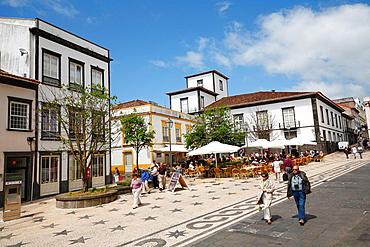 Plazza in the city of Ponta Delgada, Sao Miguel island, Azores, Portugal.