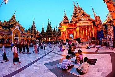 Shwedagon pagoda in dusk, yangon, myanmar, asia