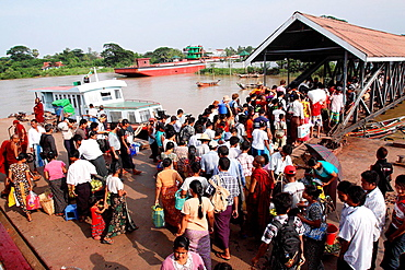 High angle view of rush hour in jetty, Irrawaddy River, Yangon, Myanmar.