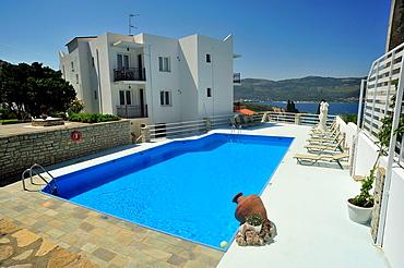 Swimming pool at Scorpios Apartments near Samos Town, Samos Island, Greece