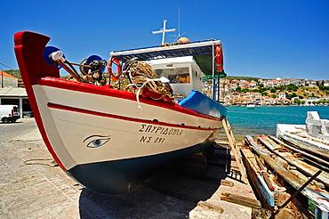 Fishing boat in dry dock, Pythagoreio, Samos Island, Greece