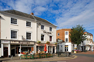 Hereford, High Town, Commercial Street, typical buildings, Herefordshire, UK