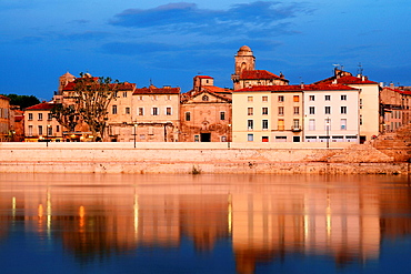 The city of Arles and the Rhone river Bouches du Rhone, 13, PACA, France.