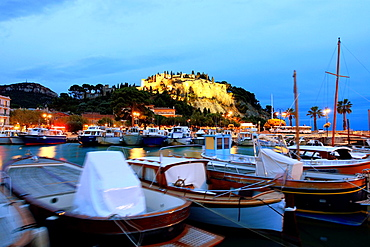 The fishing village of Cassis at night, Bouches du Rhone, 13, PACA, France.