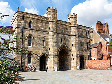 The 14th century Exchequer Gate, Lincoln, England.