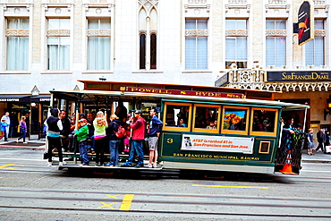 Cablecar in the streets of San Francisco, California, USA.