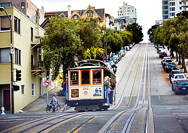Cablecar in the streets of San Francisco, California, USA