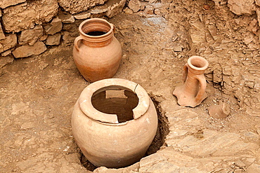 Ancient pots exhibited in the terrace houses, Ephesus, Turkey.