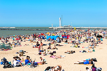 Oostende beach, North Sea Coast, West Flanders, Belgium.