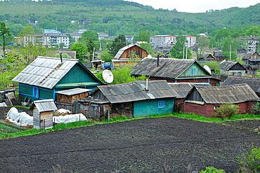 Small Collective Farm Along The Trans Siberian Rail Road. Russia