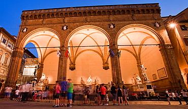 Loggia dei Lanzi, Piazza della Signoria, Florence, Tuscany, Italy.