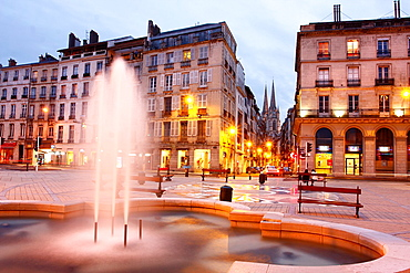 Fountain in the square of the Town Hall of Bayonne, Basque Country.