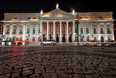 Facade of Teatro Donna Maria, Praca Dom Pedro IV or Rossio Square, Rossio. Lisbon, Portugal.