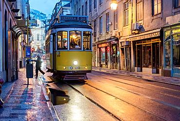 Tram in Rua do Comercio, Baixa, Lisbon, Portugal.