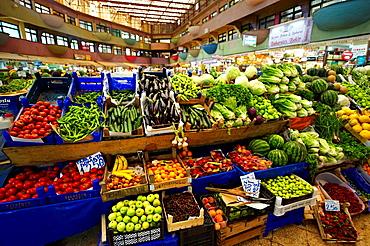 Vegetable market of the shops of the Bazaar of Konya, Turkey.