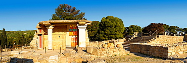 Arthur Evans reconstruction of the South Propylaeum Knossos Minoan archaeological site, Crete.