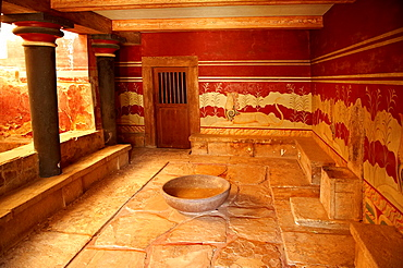 Arthur Evans reconstruction of the the so-called Throne Room or Little Throne Room, Knossos Minoan archaeological site.