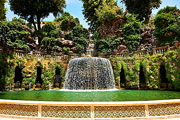 waterfall of The oval fountain, 1567, Villa d'Este, Tivoli, Italy, Unesco World Heritage Site.
