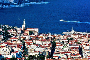Europe, France, Alpes-Maritimes, Menton, the old town with the church of Saint-Michel and its bell tower.