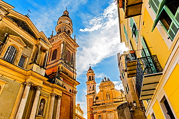Europe, France, Alpes-Maritimes, Menton. White penitents chapel and the Basilica of Saint Michel.