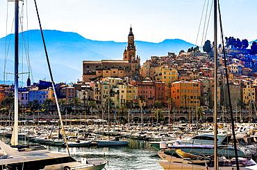 Europe, France, Alpes-Maritimes, Menton. Old city and the marina.