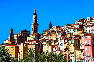 Europe, France, Alpes-Maritimes, Menton. The colored houses of the old town.