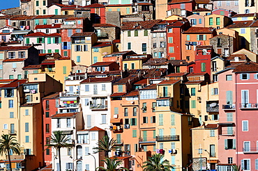 Europe, France, Alpes-Maritimes, Menton. The colored house of the old town.