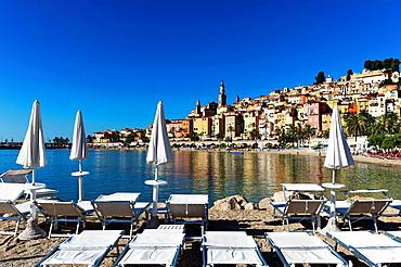 Europe, France, Alpes-Maritimes, Menton. Transat in a private beach.