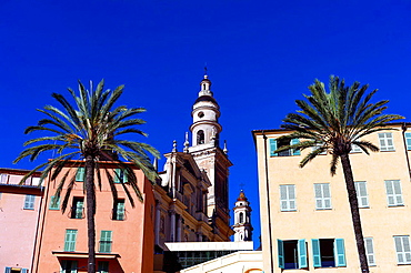 Europe, France, Alpes-Maritimes, Menton. Saint Michel Basilica.