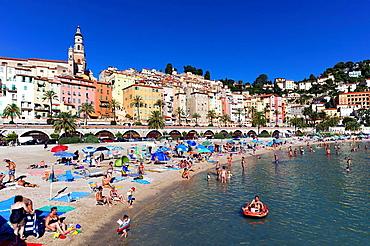 Europe, France, Alpes-Maritimes, Menton. The beach in summer.
