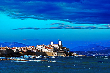 Europe, France, Alpes-Maritimes, Antibes. Old town walls.