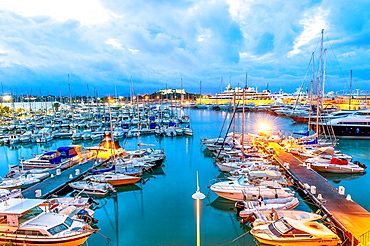 Europe, France, Alpes-Maritimes, Antibes. Marina and Fort Carre at night.