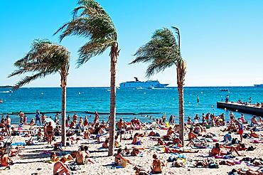 Europe, France, Alpes-Maritimes, Cannes. Beach in summer.
