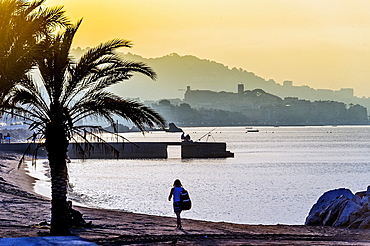 Europe, France, Alpes-Maritimes, Cannes. Sunset in a beach.