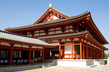 Yakushiji Temple, Nara, Japan, Kondo, Main Hall, Japanese schoolchildren attending lecture, Work started on temple in late 7th century, Reign of Emperor Temmu, Very important site in cultural heritage of Japan, Horizontal.
