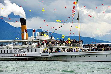Parade Navale, Parade of historic steamboats, Nyon, canton Vaud, Geneva Lake, Switzerland