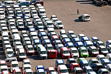 vehicles, container terminal, Salerno harbor, Campania, Italy, Mediterranean sea, Europe