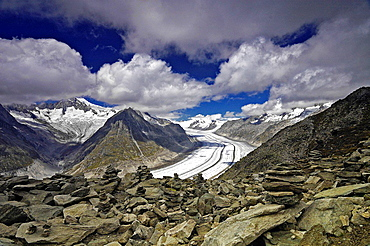 view for Aletsch Glacier, largest glacier in the Alps, Jungfrau-Aletsch Protected Area, UNESCO heritage, Swiss Alps, Fiesch, Valais, Switzerland