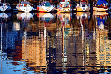 Picturesque reflections of sail boats, Vieux Bassin, Honfleur, Calvados, Normandy, France